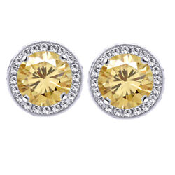 5.25 Ct Golden Moissanite Round Halo Style Stud Earrings In Sterling Silver