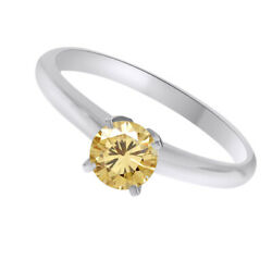 10k White Gold 3 Ct Golden Genuine Moissanite Solitaire Bridal Ring Jewelry