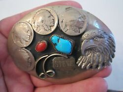 Belt Buckle With Indian Head Nickels And Turquoise And Coral - 3 3/4 X 2 3/4 - Gw6