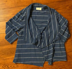 Chico's Zenergy 100% cotton striped open cardigan=Women's 12 Large