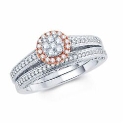 1/2 Ct Composite Natural Diamond Frame Bridal Set In 10k Two-tone Gold