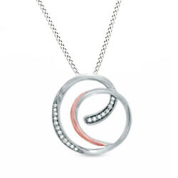 1/10 Ct Natural Diamond Circle Pendant In Sterling Silver And 14k Rose Gold