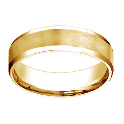 14k Yellow Gold Comfort Fit Satin High Polished Bevel Edge Band Ring Sz 9
