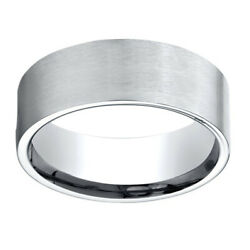 14k White Gold 8.00 Mm Comfort-fit Menand039s Engagement And Anniversary Band Ring Sz-7