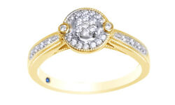 0.17 Ct Round Natural Diamond 10k Two Tone Solid Gold Frame Cluster Promise Ring