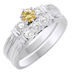 5.25 Ct Round Golden Moissanite Three Stone Bridal Set Ring In Sterling Silver