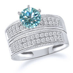 Sterling Silver 3 Ct Light Blue Moissanite Wedding Band And Bridal Set Engagement
