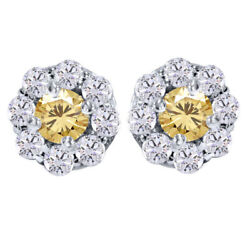 Sterling Silver 5.25 Ct Round Golden Genuine Moissanite Pave Halo Earrings