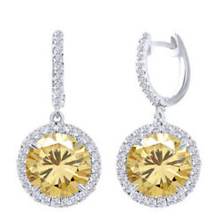 5 Ct Golden Moissanite Sterling Silver Hoop Halo Solitaire Dangling Earrings