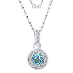 2.75 Ct Round Light Blue Moissanite Halo Pendant Necklace In Sterling Silver