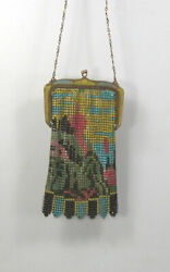 Antique Whiting And Davis Colorful Mountain / Forest Scene Enamel Mesh Purse Bag