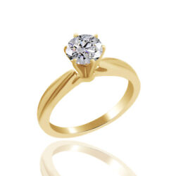 Round Simulated Diamond Solitaire Cathedral Engagement Ring 18k Yellow Gold