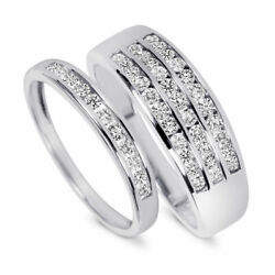 7/8 Carat Diamond His And Hers Wedding Rings Solid 10k White Gold