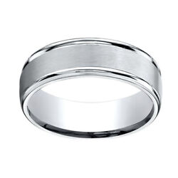 14k White Gold 7mm Comfort-fit Satin Finish High Polished Band Ring Sz-9