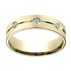0.32ct Natural Diamond 6mm Comfort Fit 18k Yellow Gold Band Ring Sz-11