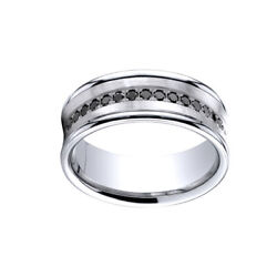 0.33 Cttw Natural Diamond Concave Band Ring 18k White Gold Comfort-fit 7.5mm