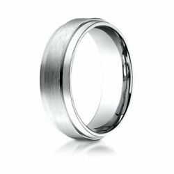 7mm Comfort-fit Satin-finish In 14k White Gold Wedding Band Ring Sz 12