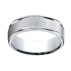 18k White Gold 7mm Comfort-fit Satin Finish High Polished Band Ring Sz-11