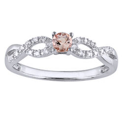 14k Gold Over Silver Morganite And Diam Accent Infinity Ring
