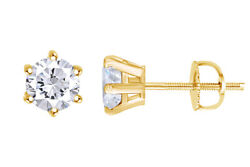 1.03 Ct Round Earth Mined Diamonds 14k 6-prong Classic Earrings