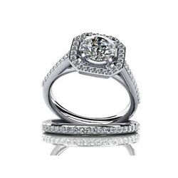 Simulated Diamond Solitaire With Accents Engagement Wedding Rings 14k White Gold