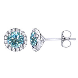 3.5 Ct Round Light Blue Moissanite Sterling Silver Square Halo Stud Earrings