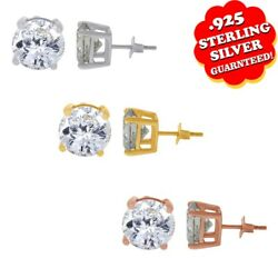 4 1/2 Ct Round Cut Off White Moissanite Stud Earrings In .925 Sterling Silver