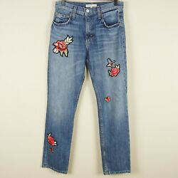 Joie Hotel California Patches Light Wash High Rise Crop Jeans Womens Sz 24