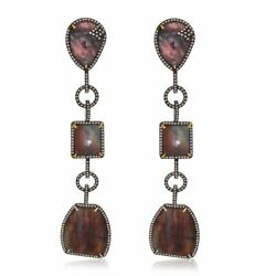 41.42 Ct Brown Slice Sapphire And Diamond 18k Gold And Sterling Dangle Earrings