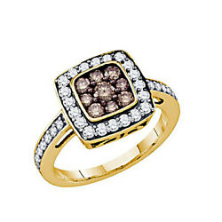 10k Solid Yellow Gold 1 Ct Cognac Brown And White Diamond Cluster Engagement Ring