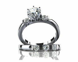 Round Cut Cubic Zirconia Engagement Ring And Wedding 2 Pc Set 14k Sold White Gold