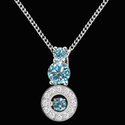 2.75 Ct Light Blue Moissanite Three Stone Halo Pendant In Sterling Silver