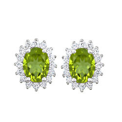 2.15 Ct Oval Cut Peridot And 1/2 Ct Diamond 14k White Gold Stud Earrings
