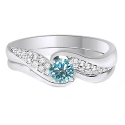 Sterling Silver 3 Ct Light Blue Moissanite Bridal Set Wedding Ring Jewelry
