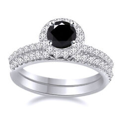 Sterling Silver 2.75 Ct Black Moissanite 2 Piece Halo Engagement Bridal Ring