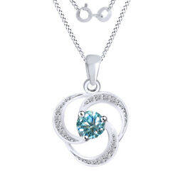 2.75 Ct Light Blue Moissanite Swirl Halo Pendant Necklace In Sterling Silver
