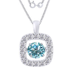 2.75 Ct Light Blue Moissanite Dancing Halo Pendant Necklace In Sterling Silver