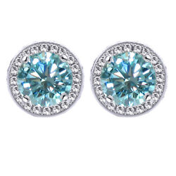 3 Ct Light Blue Moissanite Round Halo Style Stud Earrings In Sterling Silver