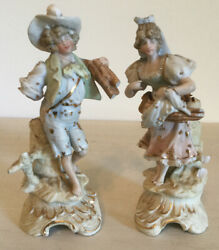 Vintage German Bisque Porcelain Figurines - Man And Woman Gathering Wood- Marked