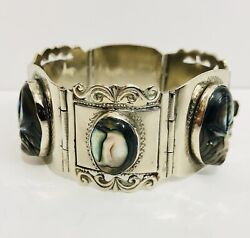 """Vintage Taxco Sterling Silver Box Link Bracelet Carved Abalone Shell Mexico 7"""""""