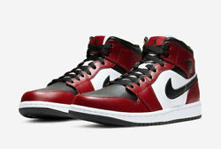Nike Air Jordan 1 Mid Casual Shoes Chicago Black Toe 554724-069 Menand039s And Gs New