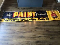 """Sherwin Williams Paint 1940s Huge Advertising Paper Banner Mca Sign 28 X 115"""""""