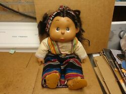 Vintage Authentic American Indian/mexican Girl Doll Hand Paintedand Clothes H/m