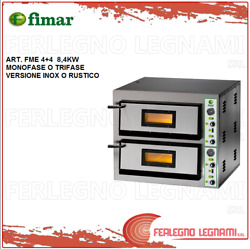 Oven Elett. For Pizzeria 84kw 2 Cameras 3ph Or 1ph Rustic Steel Fimar Fme4 +4