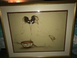 Rc Gorman Original Hand Signed Colored Lithograph Of Two Women Now Reduced