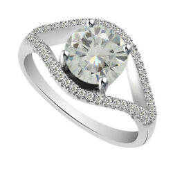6 Ct Genuine Moissanite Sterling Silver Halo Engagement Bridal Ring
