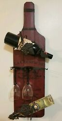 Wall Hanging Wine Rack Bottle Glass Holder Rustic Modern Wall Mount 32quot; by 9quot;
