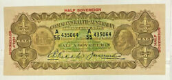 Australia 1928 10 Shilling Or Half Sovereign Banknote..rare In A Grade Like This