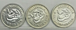 Australia ..3 Key Date X 1940 Shillings In High Grade And Very Cheap..c.v 700+