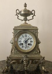 Beautiful Antique 19century French Empire Mantle Clock Incl Key. Functioning